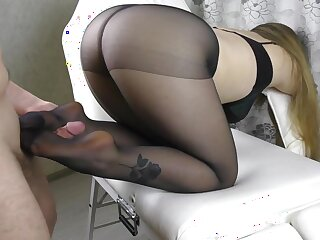 Teen Chubby Ass and Chubby Breast approximately Pantyhose - footjob, handjob, cum on the top of legs