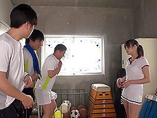 Sporty Japanese teen Ootori Kaname gangbanged relative to eradicate affect van gym