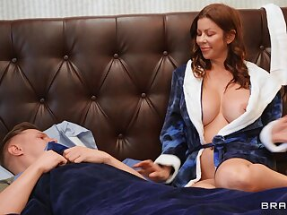 Cheating wife Alexis Fawx blows her lover and rides his giant cock