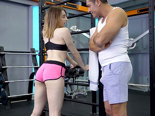 Sporty angel lets their way gym trainer fuck their way hard